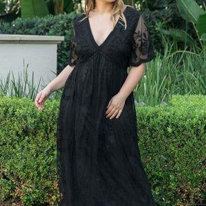 Lace Mesh Overlay Plus Maxi Dress